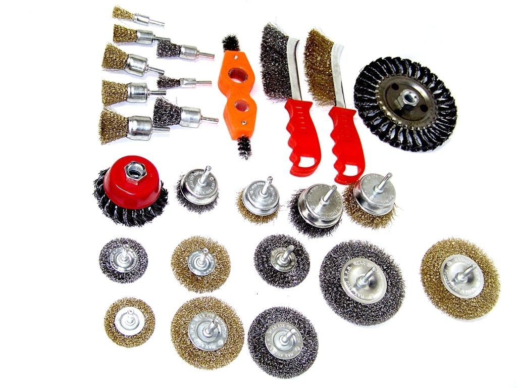 KCHEX>25PC Wire Brush Assorted Kit Wheel Set Crimp Cup Large Wire Brush Cleaner kit>2 Of Each Crimp Wire End Brush 1/2'', 3/4'', 1'', 1-1/8'' 2 Of Each Crimp Wire Wheel Brush 2'', 2-1/2'', 3'', 4''. 2 Of by COLIBROX