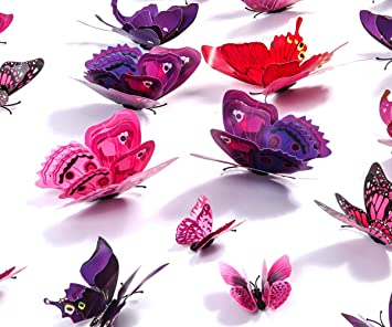 Amazon.com: Kakuu Butterfly Wall Decals 24Pcs 3D Butterflies Wall Stickers  Removable, Mural Decor For Kids Room Bedroom Decor Living Room Decor  (Purple): ...
