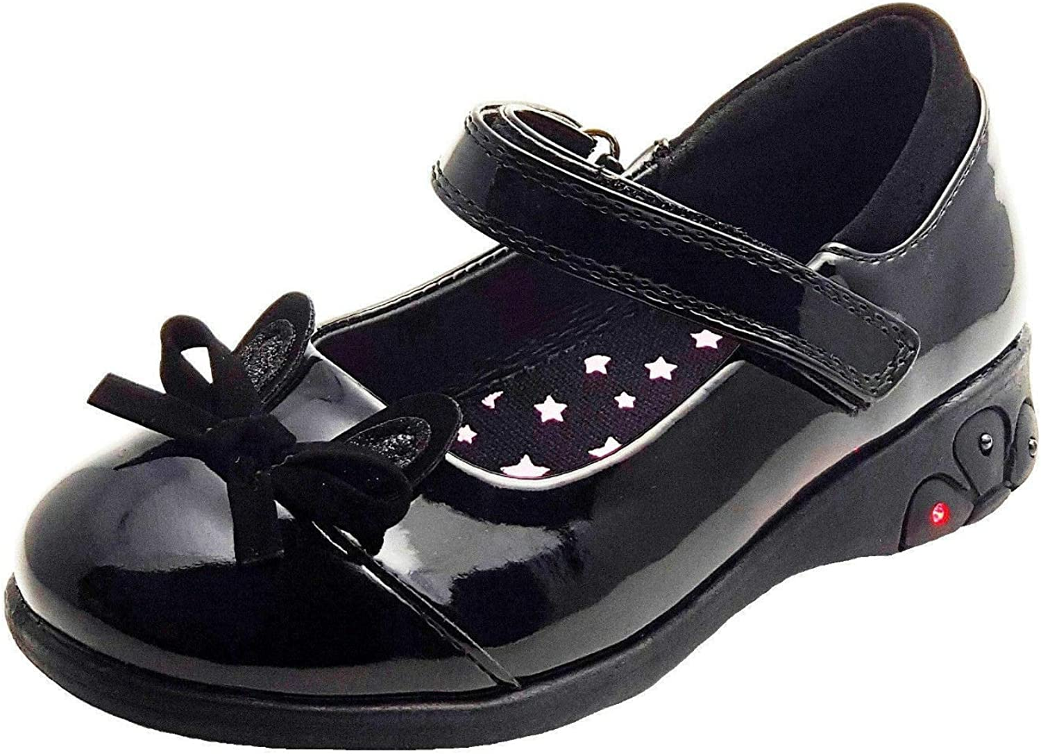 Chatterbox Girls Black Patent Shoes with Light up Heels