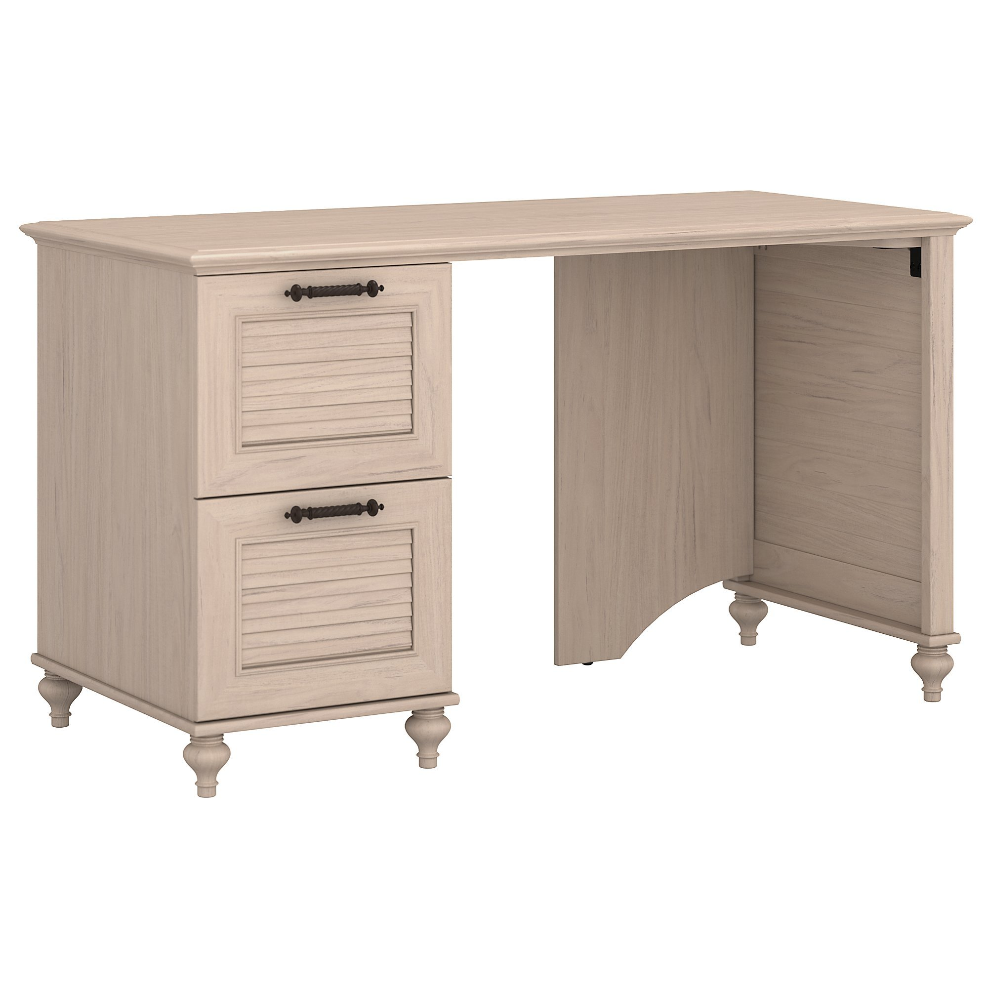 kathy ireland Home by Bush Furniture Volcano Dusk 51W Desk with 2 Drawer Pedestal in Driftwood Dreams