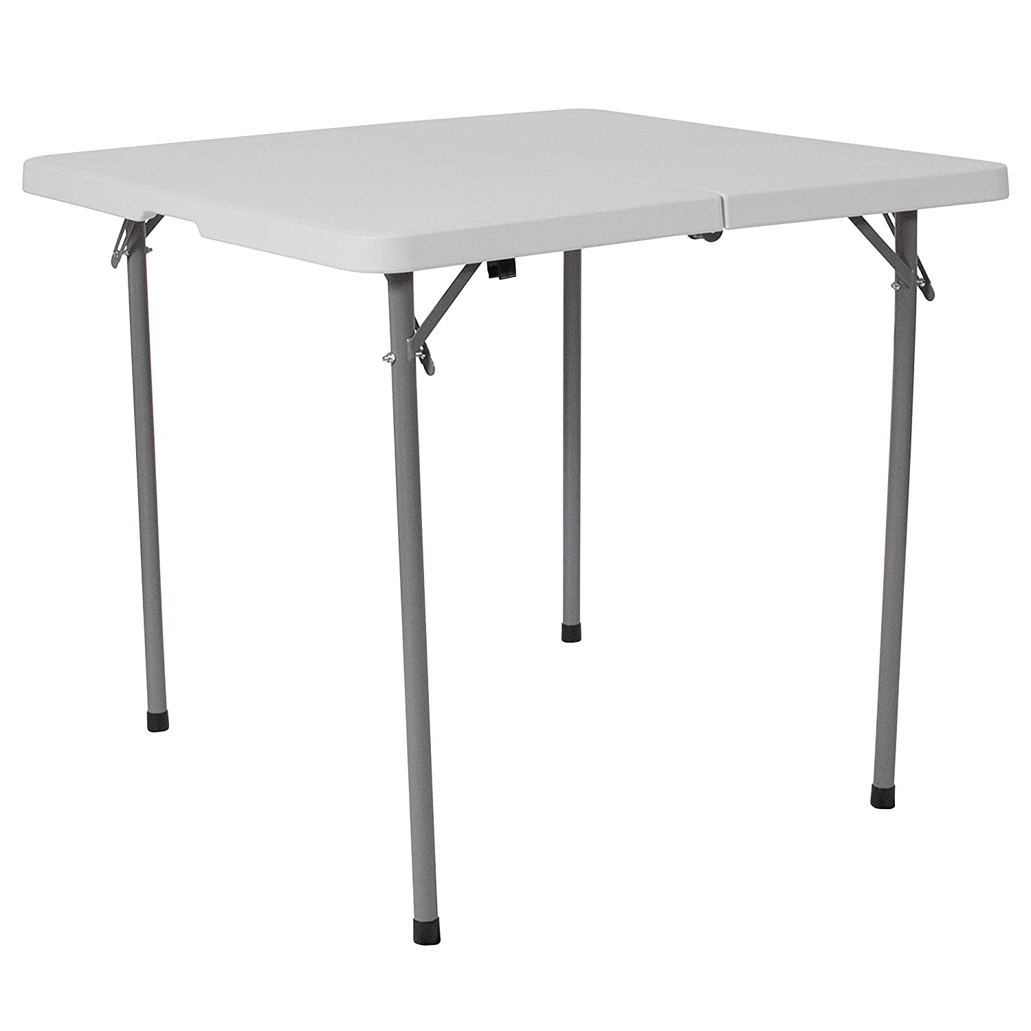 Flash Furniture 34'' Square Bi-Fold Granite White Plastic Folding Table with Carrying Handle