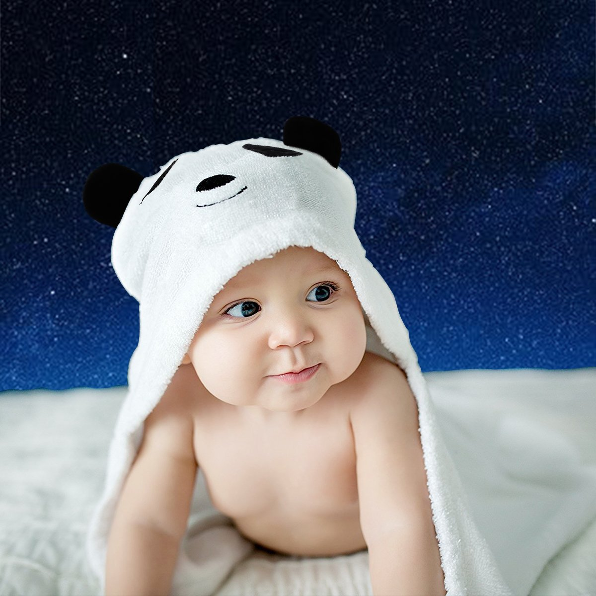 Baby Hooded Towel Upsimples Panda Baby Towels for Boys and Girls 38 × 38 inches Ultra Large 500GSM Super Soft Organic Bamboo Baby Towel for Baby Infant Toddler | Baby Shower/Registry Gift Photo Shoot CH-UP01005