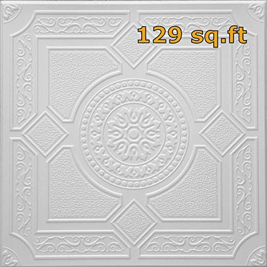 Pack of 8 Foam Panels 2.7sq.ft Each Styrofoam Decorative Ceiling Tile to Cover Popcorn Ceiling in Easy DIY Glue up Application Polystyrene Covers ~21.5 sq.ft Model # RM-30