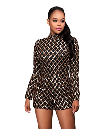 a23ac938bab8 Women s Girls Sexy High Collar Embroideried Sequins Grid Lattice Romper  Jumpsuit Shorts Party Club Mini Dress