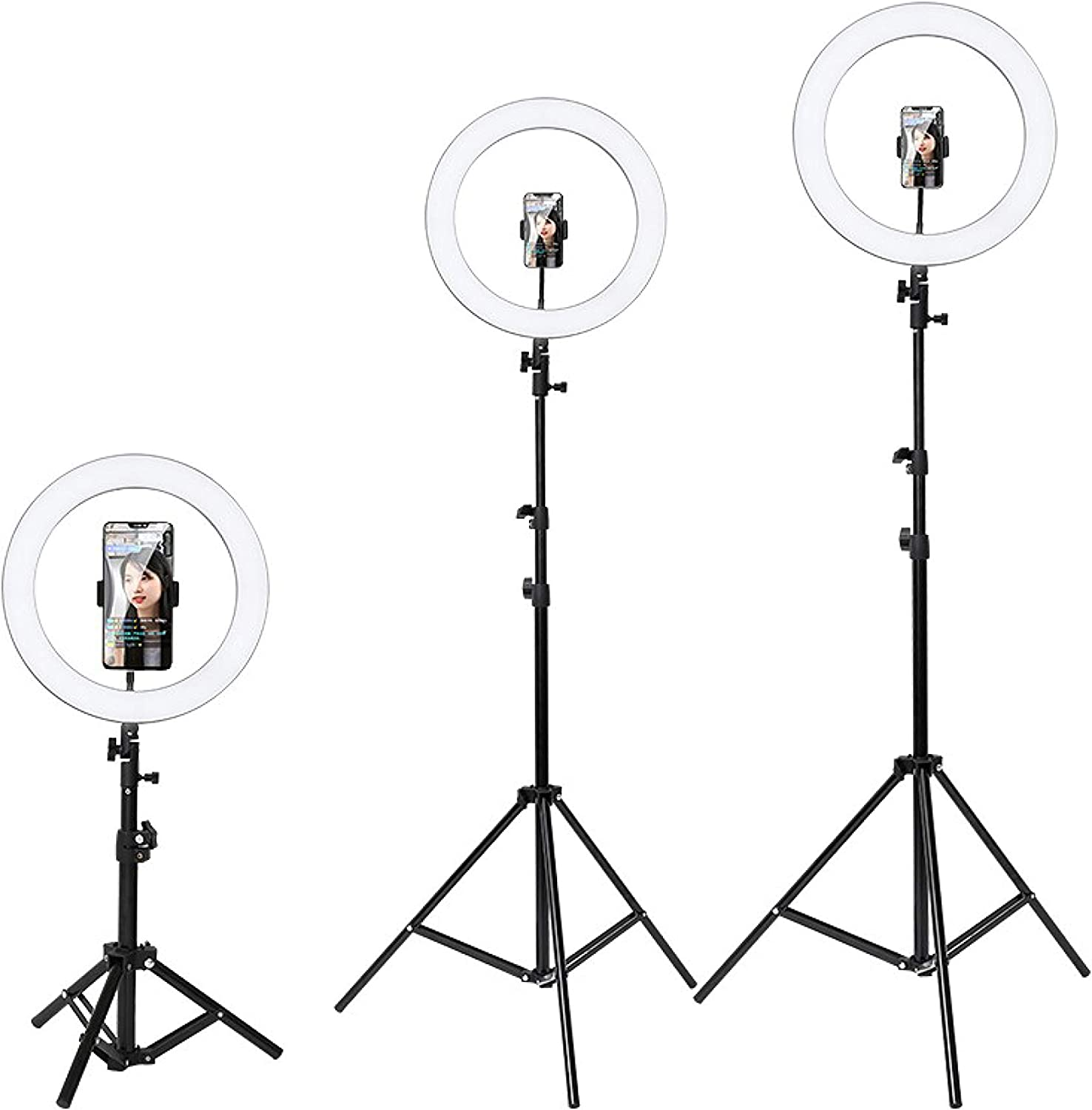 B/&S Dimmable LED with Tripod Stand /& Cell Phone Holder for Live Stream//Makeup//Video Recording 16//26//36cm Ring Light Kit 6//10//14-inch 10 inch//26cm Floor Stand