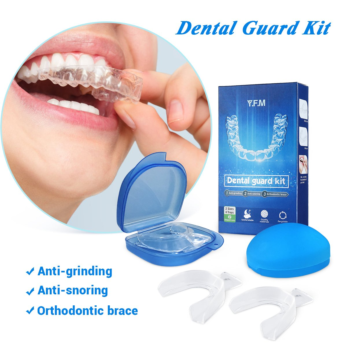 Professional Dental Guard Y.F.M Anti Grinding Teeth Custom Moldable Dental Night Guard, Stops Bruxism,Tmj & Eliminates Teeth Clenching.Pack of 4 Guards in 2 Sizes for CustomSatisfaction Is Guaranteed!