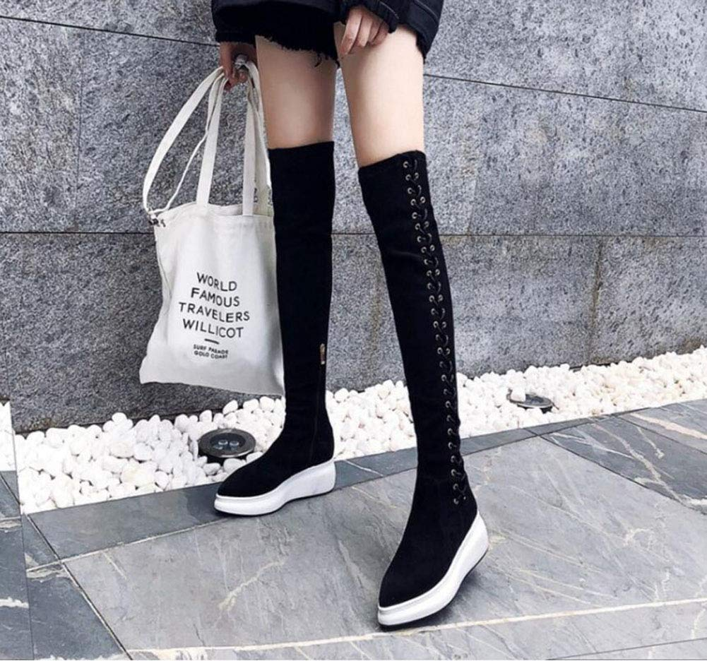 Fall Winter Side Zippered Leather Boots Color : B, Size : 37 Female Platform Boots YaXuan Womens Long Boots Rivets Over The Knee Boots,Elastic Boots