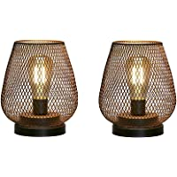 JHY Design Set of 2 Metal Cage LED Lantern Battery Powered, Cordless Accent Light with LED Edsion Style Bulb. Great for…