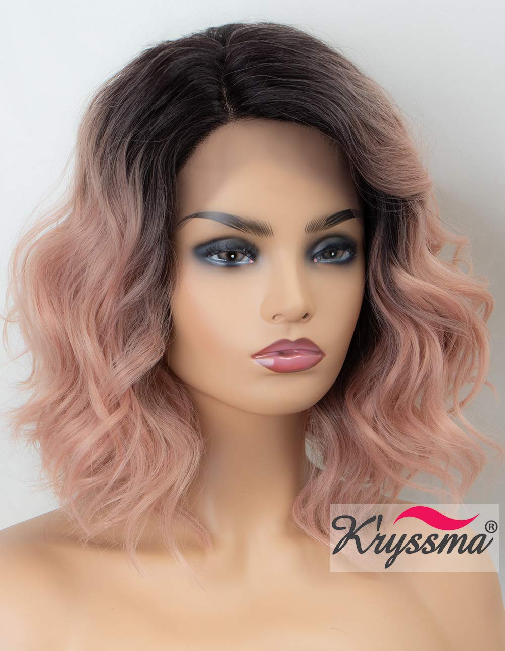 K'ryssma Ombre Pink Lace Front Wig Wavy Rose Blonde Short Bob Synthetic Wig with Dark Roots L Part Pastel Pink Ombre Wigs with Deep Side Parting