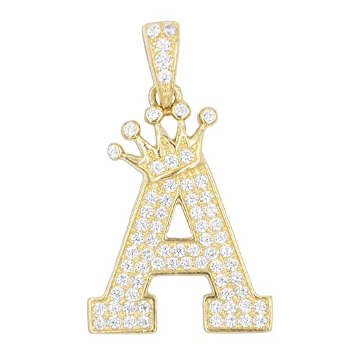 a2b05030c490f Large 10k Solid Gold Initial Letter with Tiara Pendant Set with CZ ...