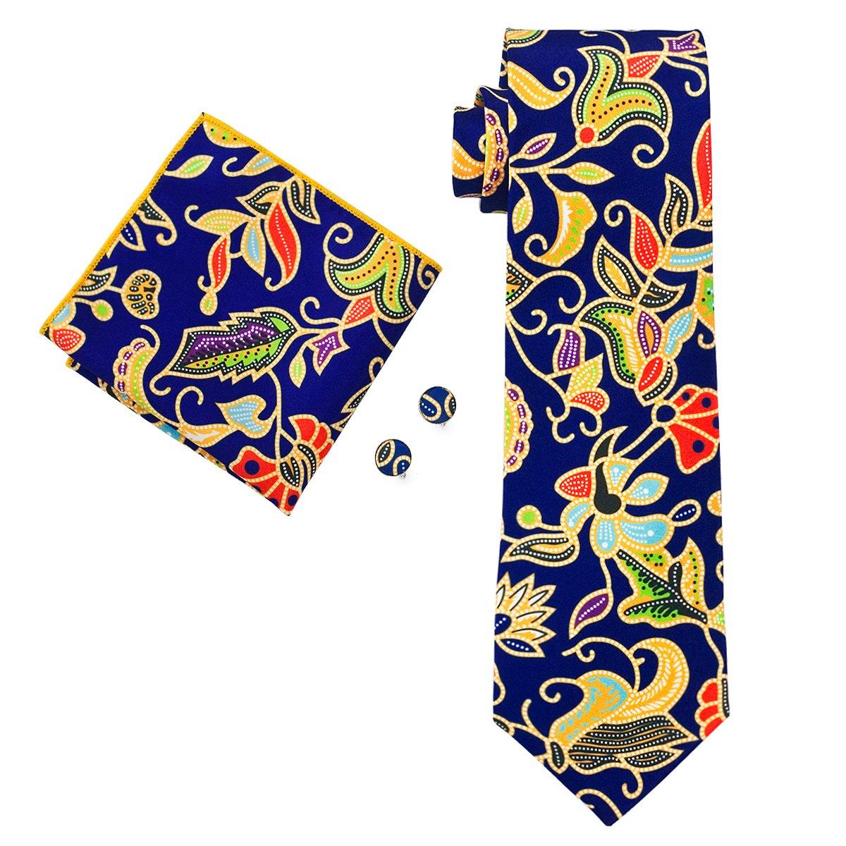 Hi-Tie New Style Floral Print Necktie Set Silk (blue)