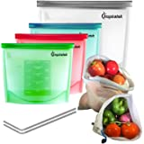 Reusable Silicone Food Bags (Large and Small, Set of 4) + Bonus Stainless Steel Straws & Produce Storage Bags | Insulated Plastic Lunch Bag | Baggies for Sandwich, Kids, Snack, Freezer Dishwasher Safe