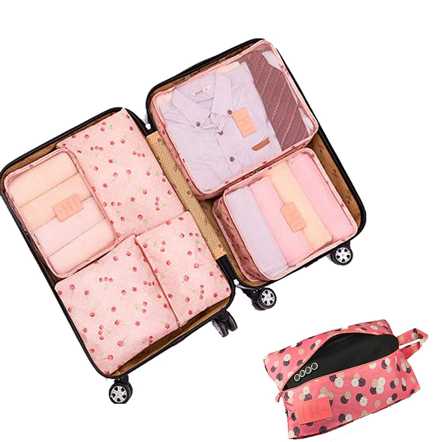 Travel Luggage Organizer Packing Cubes,7 Pcs Travel Essential Bags in Bag, Waterproof Laundry Toiletry Cosmetic Storage Bag Zipper Carry-on Suitcase Organiser Shoes Bag, Set of 7