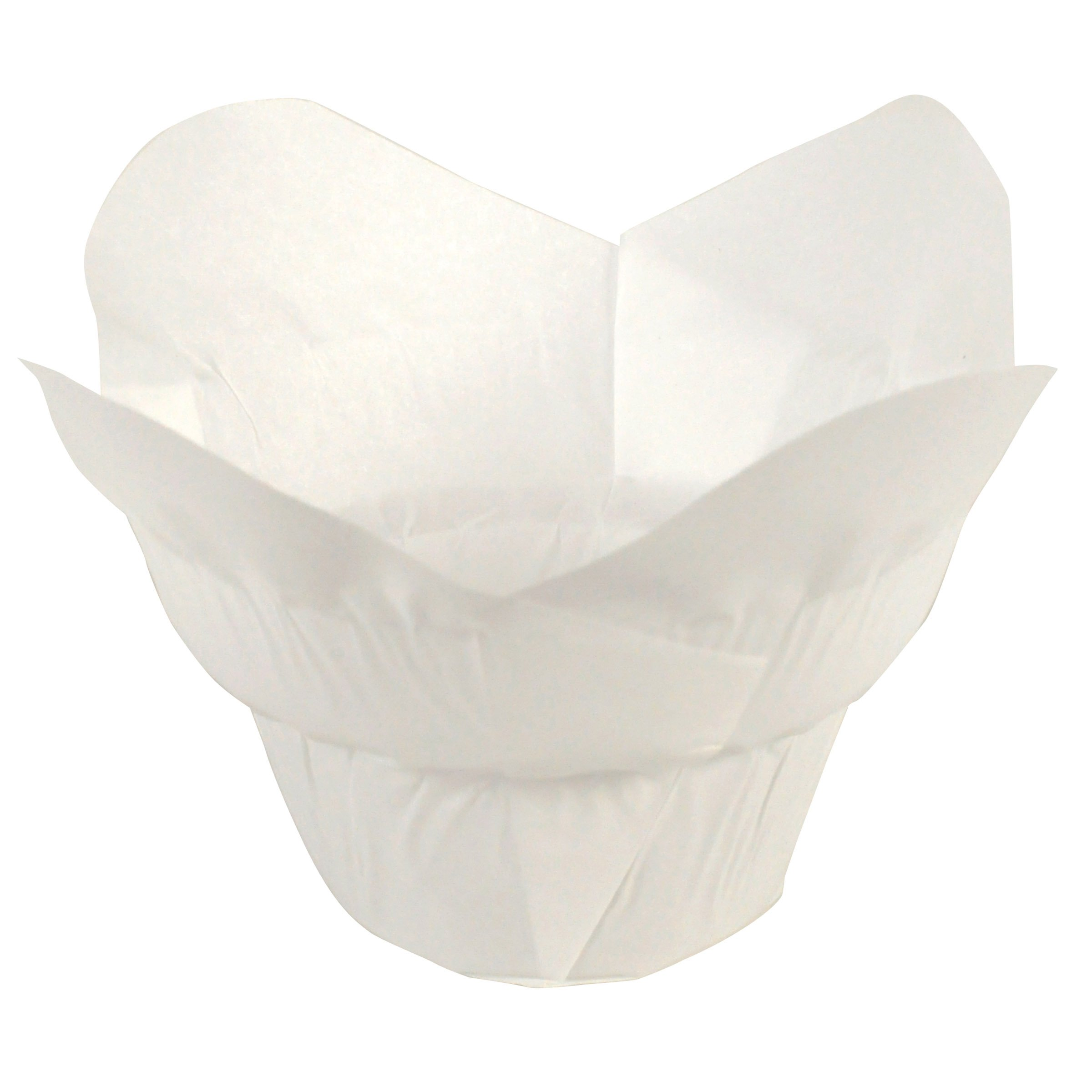 Hoffmaster 611110 Lotus Cup Cupcake Wrapper/Baking Cup, 1-1/4'' Diameter x 2-1/4'' Height, Small, White (10 Packs of 250)