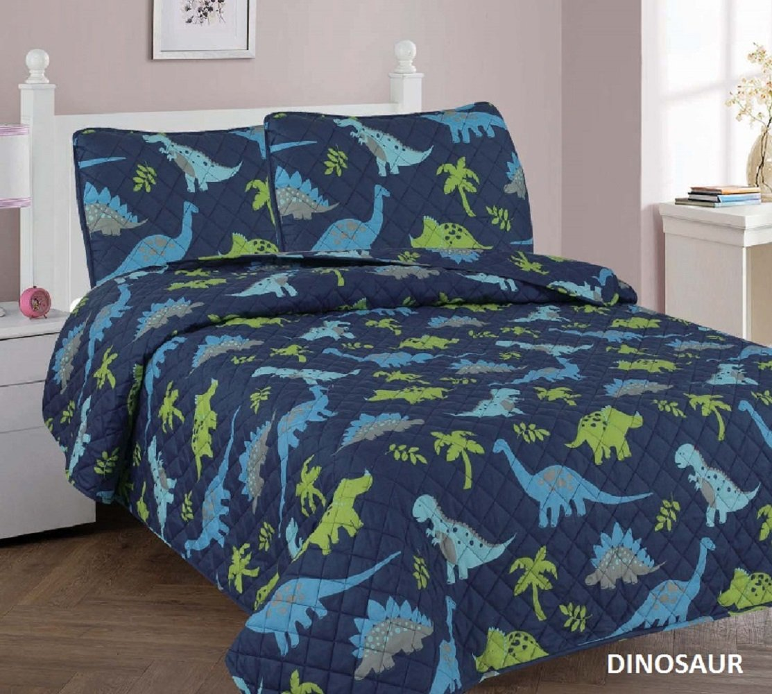 3 Piece Kids Printed Bedspread Set new Shark/Dinosaur/Cars design coverlet/quilt sets FULL size bedding (Blue Dinosaur)