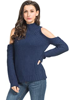 489e4b45cc05f9 Choies Women Black Turtleneck Cut Out Cold Shoulder Ribbed Knit Slim  Pullover Sweater