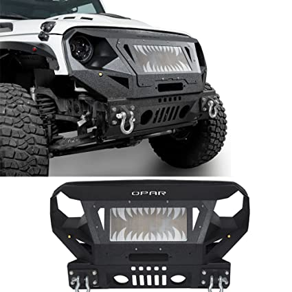 Hooke Road Textured Black Front Bumper W/Grill Guard For 07 18 Jeep Wrangler