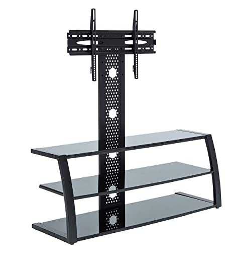 Amazon Com Mmt Black Glass Steel Floor Tv Stand Flat Screens Mount