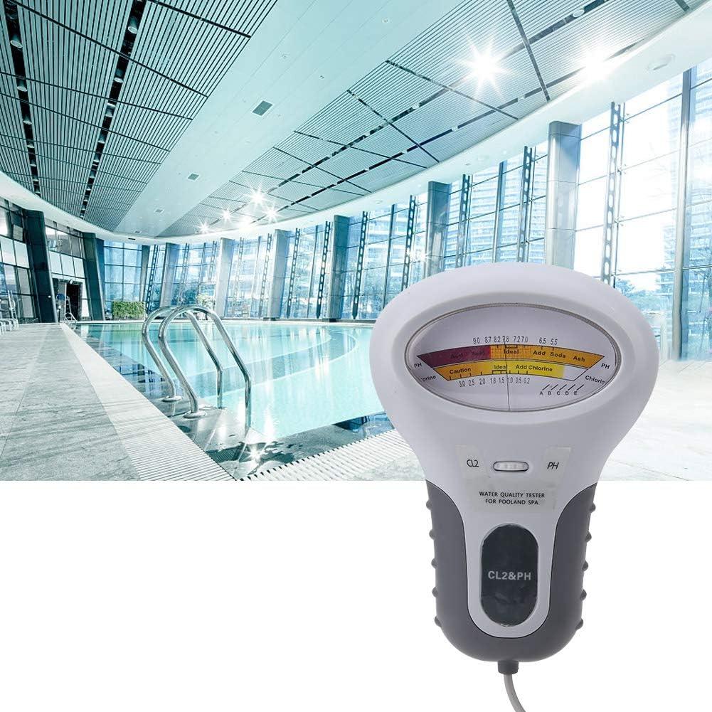 Solomi Medidor de Prueba de Agua LCD Digital multifunci/ón Cloro y Sal PC-102B CL2 Probador de Cloro y pH Analizador de Calidad de Agua de SPA con sonda Medidor de Prueba Digital de pH