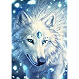 DIY 5D Diamond Painting by Number Kit, Crystal Wolf Crystal Rhinestone Embroidery Cross Stitch Arts Craft Supply Canvas Wall Decor 12X16Inch