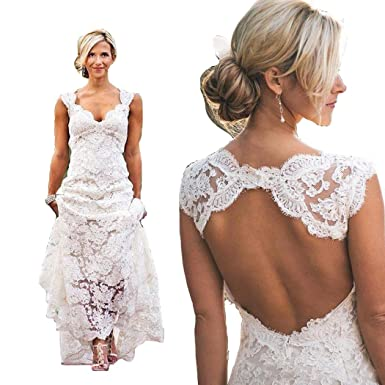 8c423ee99ed ZXCVBNM Women s V-Neck Sweep Train A-Line Wedding Dresses Bridal Gown  ZXC010 at Amazon Women s Clothing store