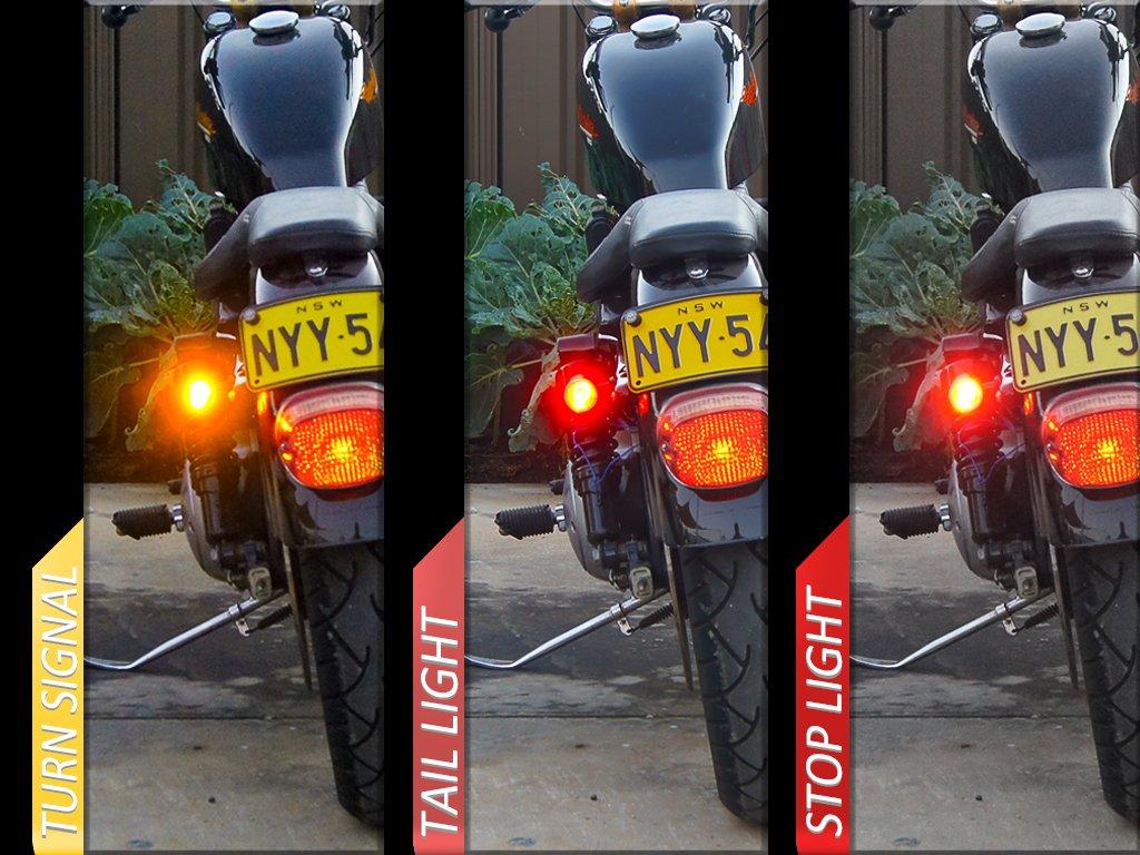 Nero CNC Alluminio Billet Integrato Led Moto Stop Fari Posteriori e Frecce