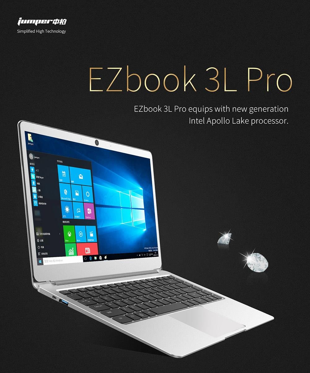Jumper EZbook 3S Windows Laptop QuadCore CPU Display 14.1