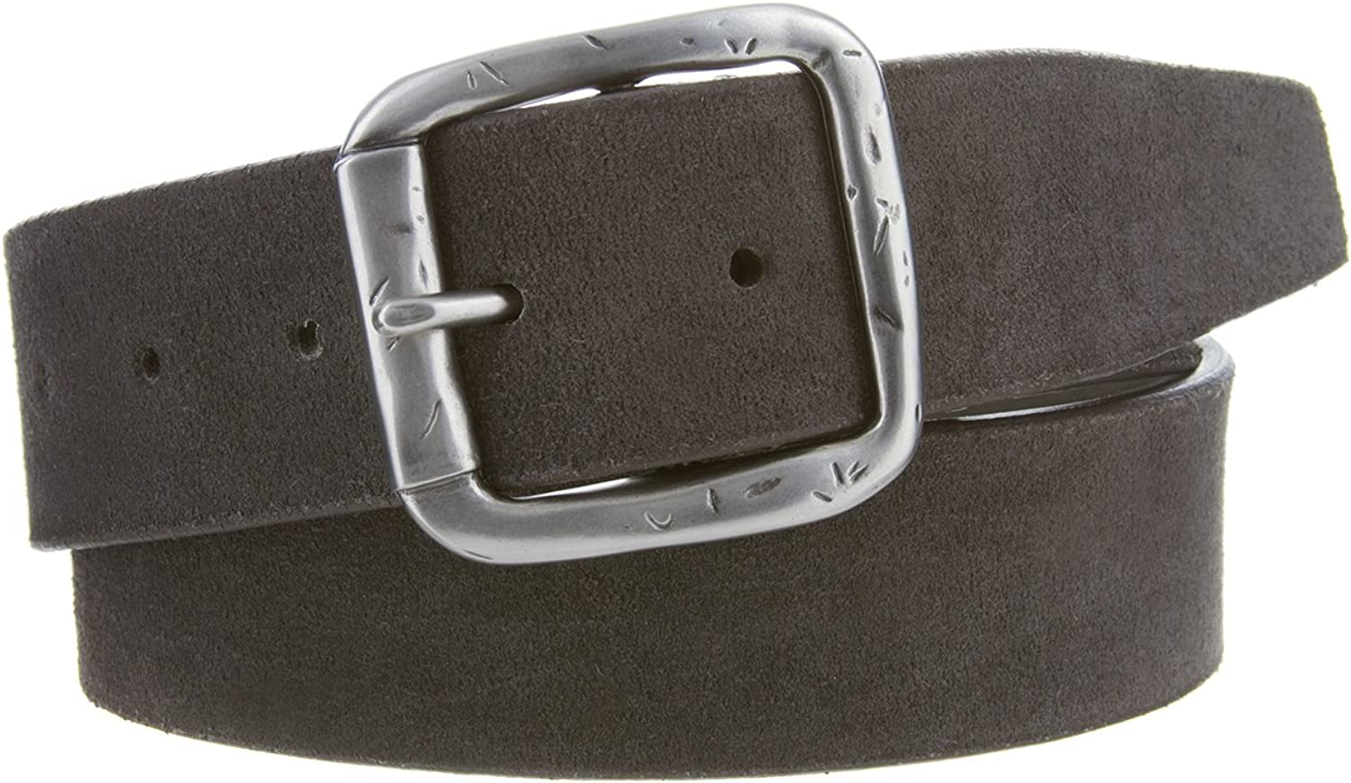 Mens Casual Suede Leather Belt Gray 1 1//2 Wide Made in the USA