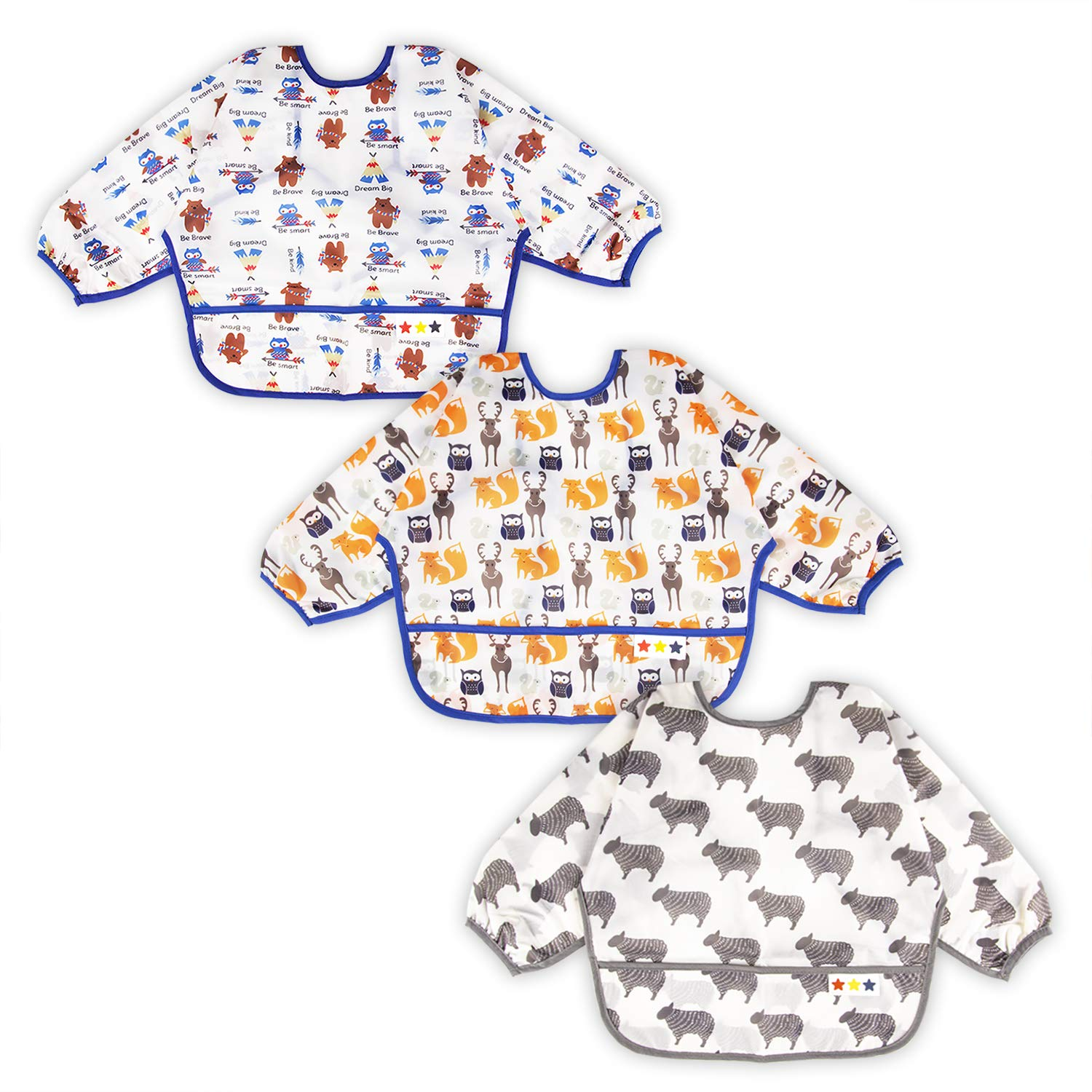 3 Pcs Long Sleeved Bib Set   Baby Waterproof Bibs with Pocket Bundle   Toddler Bib with Sleeves and Crumb Catcher   Stain and Odor Resistance Play Smock Apron - Pack of 3   6-24 Months