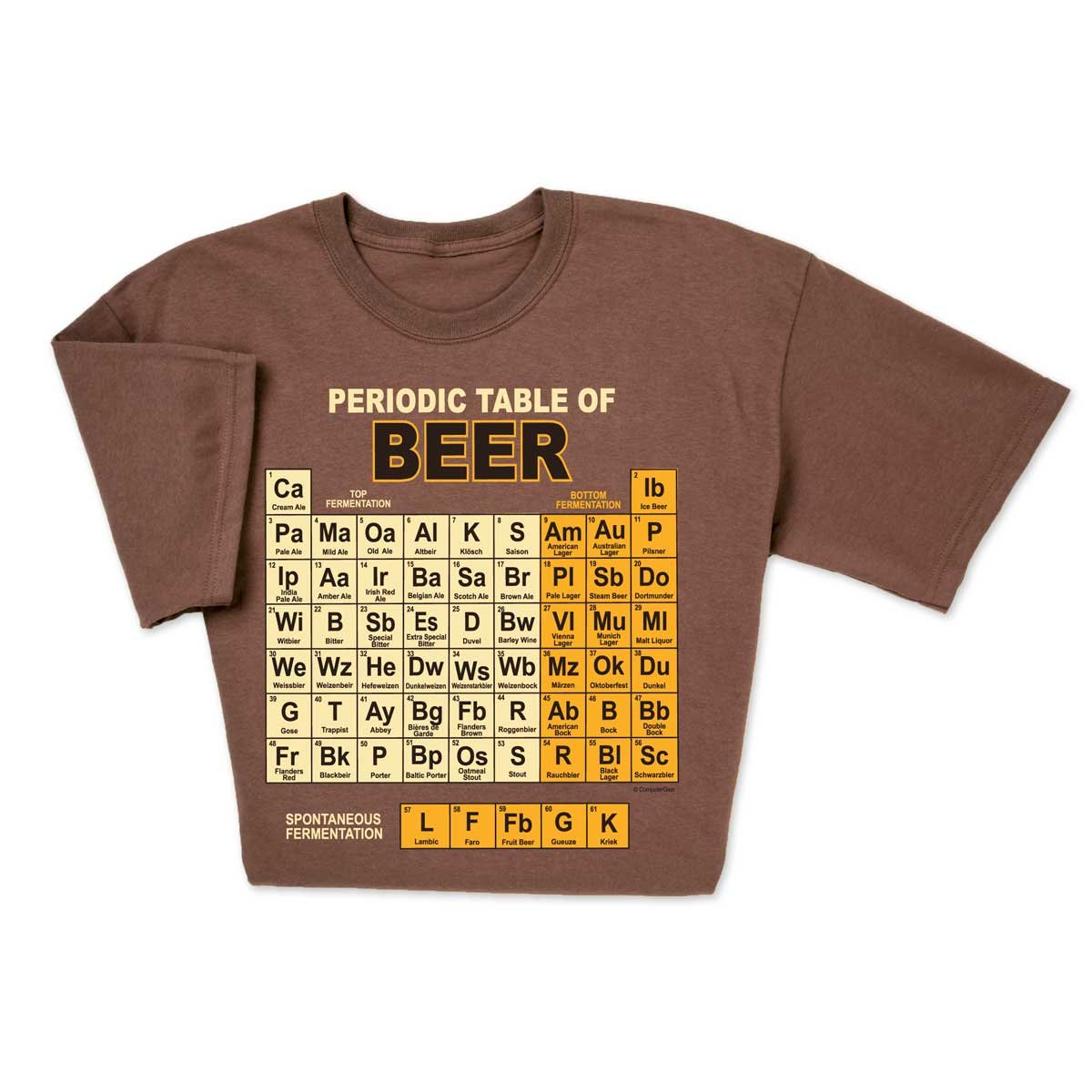 30ebd1f2f2 Funny Beeriodic Table of Beer tshirt features world famous beers from the  lightest ales to the heaviest schwarzbier arranged as a chemistry periodic  table ...