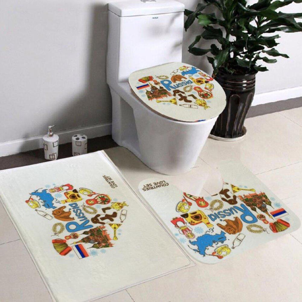 Non Slip 3 Piece Bathroom Mat Sets , Pedestal Rug + Lid Toilet Cover + Bath Mat Set Flannel Anti-slip Mat Bathroom Decoration ( Color : D )