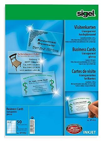 Sigel 85 X 55mm A4 Business Cards Transparent 50 Pieces