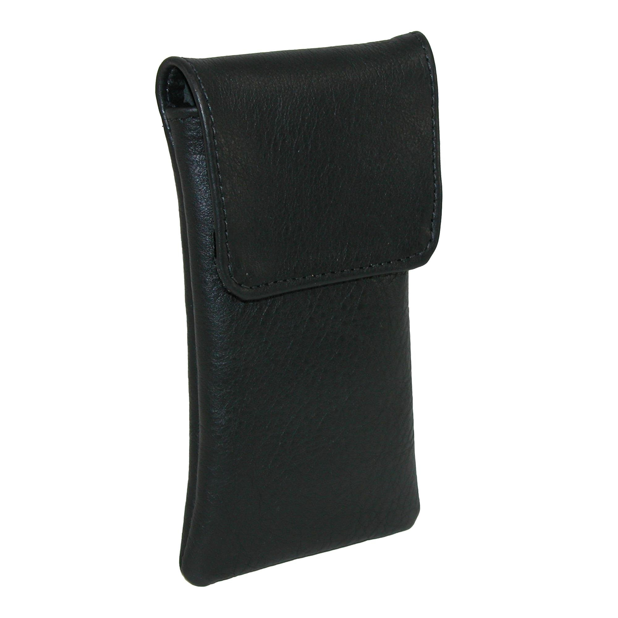 CTM Leather Soft Eyeglass Case with Holster Clip, Black