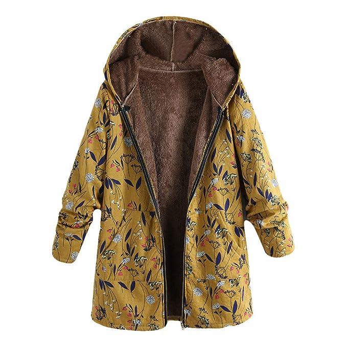 BaZhaHei Mujer Abrigo Invierno Mujer Chaqueta Suéter Jersey Mujer Cardigan Mujer Tallas Grandes Outwear Floral Bolsillos con Capucha de Impresión Caliente ...