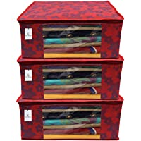 Kuber Industries Metalic Flower Non Woven Saree Cover Set, Large, Red