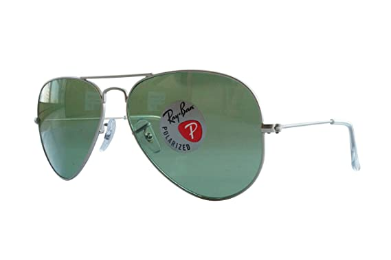 4af9200a514 Amazon.com  Ray-Ban AVIATOR LARGE METAL - MATTE SILVER Frame POLAR ...
