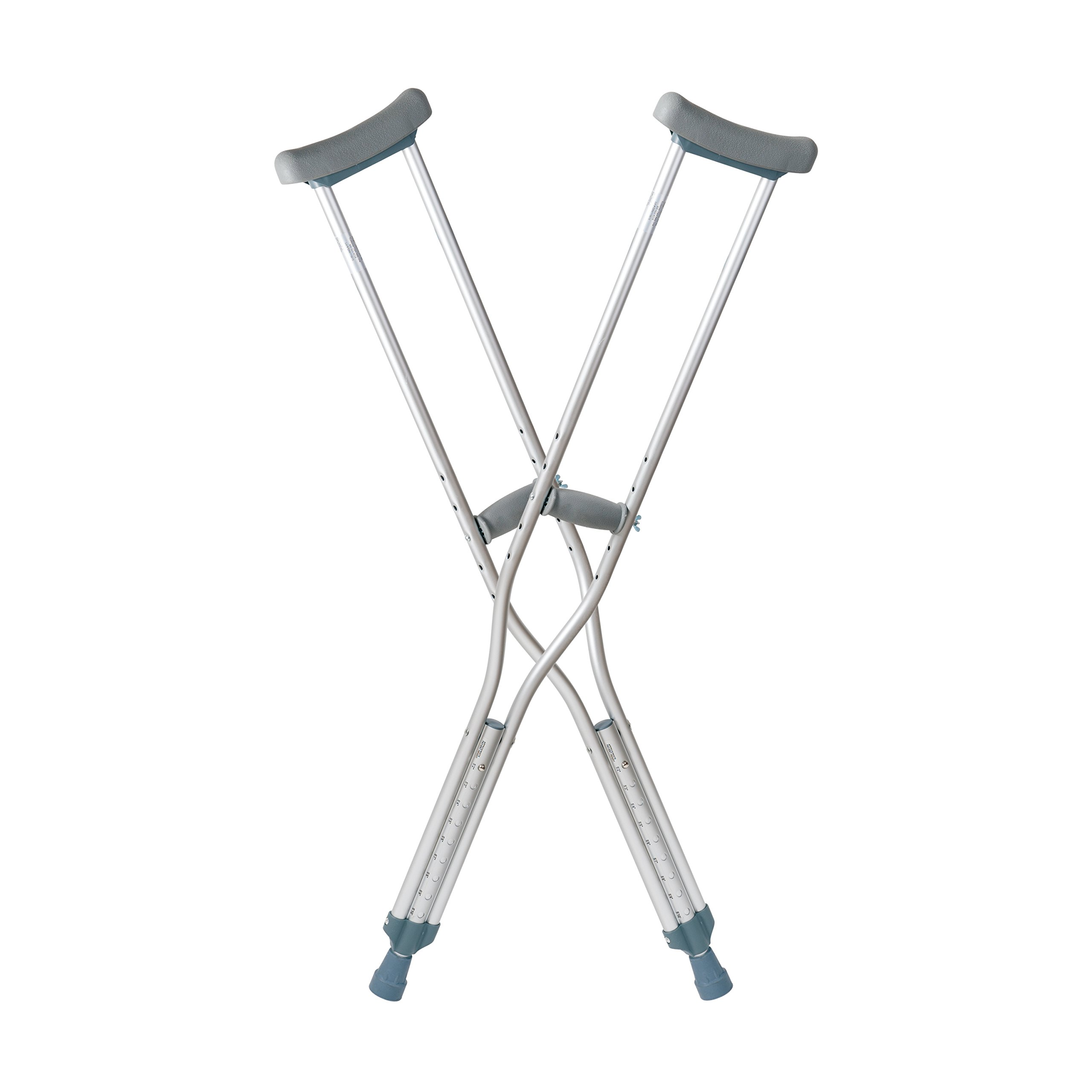 DMI Crutches, Push Button Adjustable Crutches, Aluminum Crutches with Pads, Tips, and Handgrips Accessories, Adult 5 Foot 2 to 5 Foot 10, Silver and Gray by DMI
