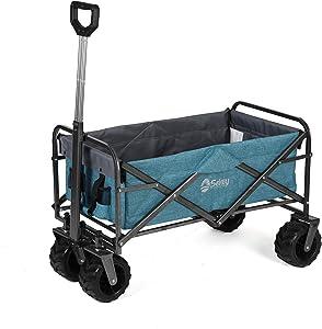 Sekey Folding Wagon Cart Collapsible Outdoor Utility Wagon Garden Shopping Cart Beach Wagon with All-Terrain Wheels, 176 Pound Capacity, Light Blue