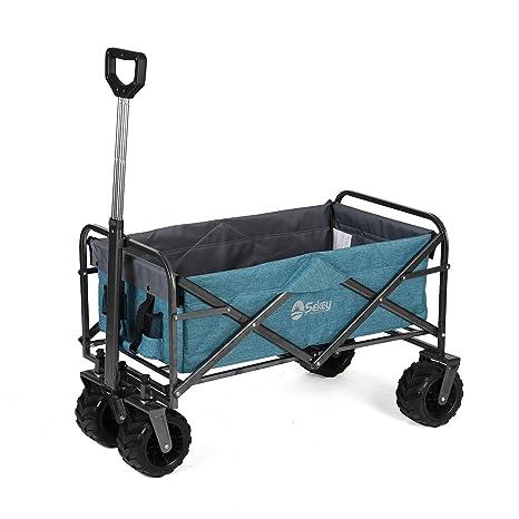 Sekey Carrito de Jardín Plegable Carro Plegable Carretilla para Exteriores Carrito de Playa para Todo Terreno, Azul
