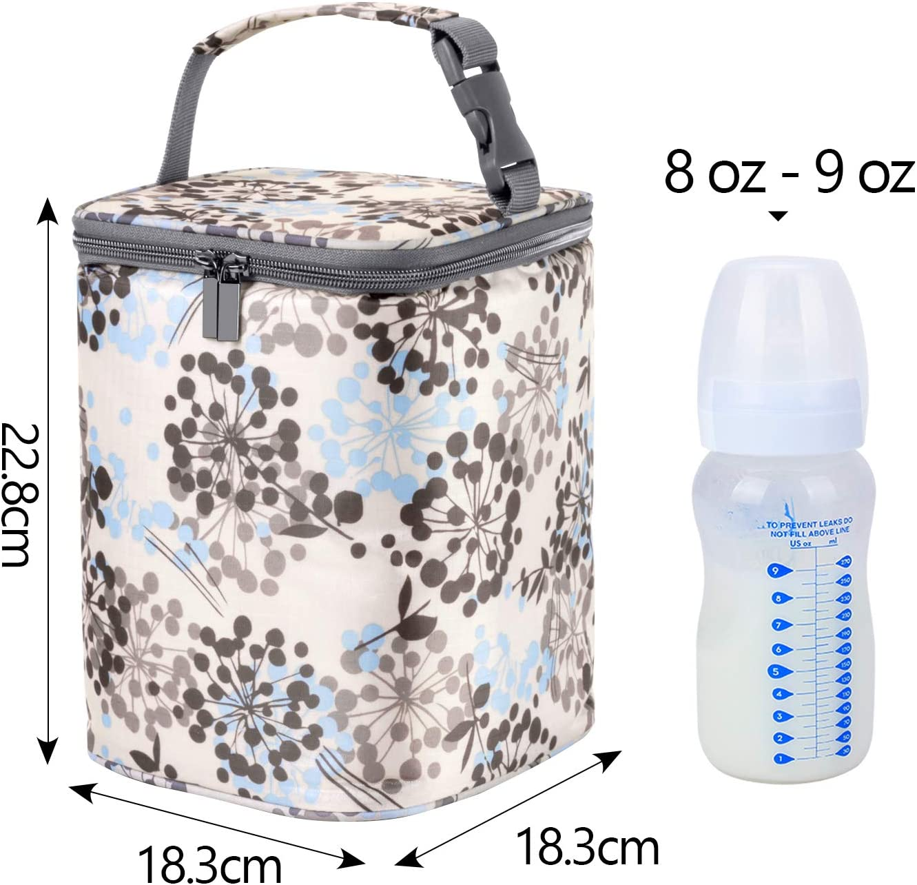 Teamoy Breastmilk Cooler Bag Baby Bottle Cooler Bag for 4 Baby Breastmilk Bottles up to 270ml and Ice Pack Light Grey