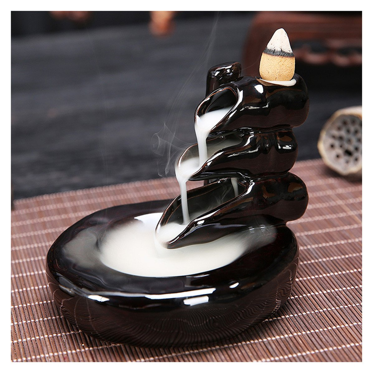 ECYC Ceramic Glaze Incense Burner Bracket Indoor Holder Backflow Smoke Waterfall Censer Tower Collectible