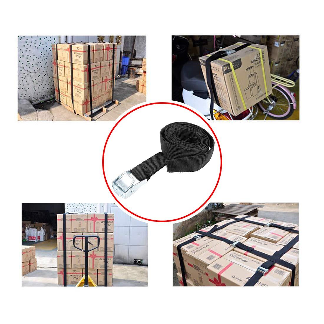 sourcing map 4Stk.Zurrgurt Cargo Zurrgurt mit Schnalle bis 250kg 0,5 Meter x 25mm Schwarz
