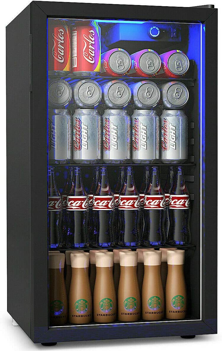 COSTWAY Beverage Refrigerator, 3.2 Cubic Foot Capacity, 120 Can Beverage Cooler with LED Light, Adjustable Thermostat, Removable Shelves, Perfect for Soda, Beer or Wine, Small Drink Dispenser Machine