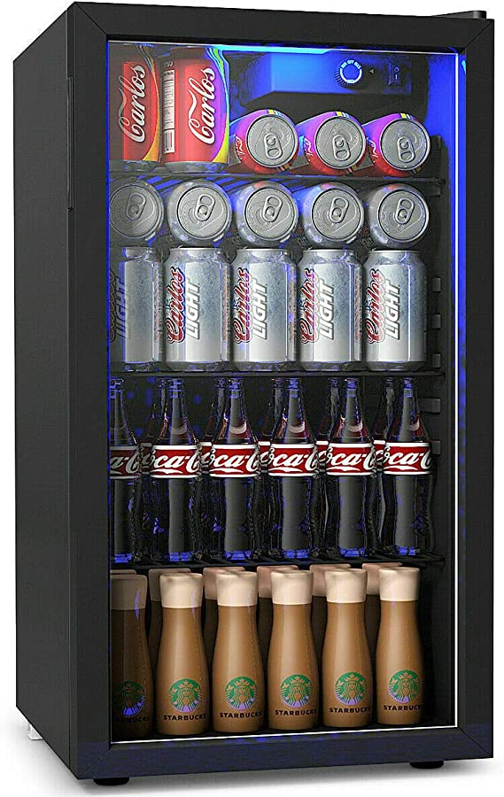 Costway Beverage Refrigerator 3 2 Cubic Foot Capacity 120 Can Beverage Cooler With Led Light Adjustable Thermostat Removable Shelves Perfect For Soda Beer Or Wine Small Drink Dispenser Machine Appliances Amazon Com