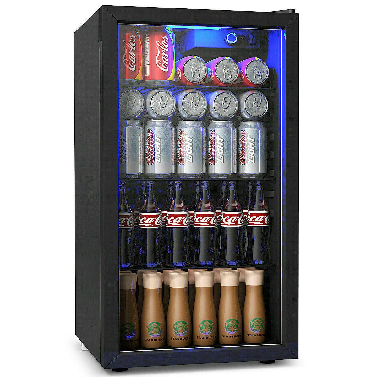 COSTWAY Beverage Refrigerator and Cooler, 120 Can Mini Fridge, Adjustable Removable Shelves, Perfect for Soda Beer or Wine Small Drink Dispenser Machine for Office or Bar (17.5'' x 19'' x 31'') by COSTWAY