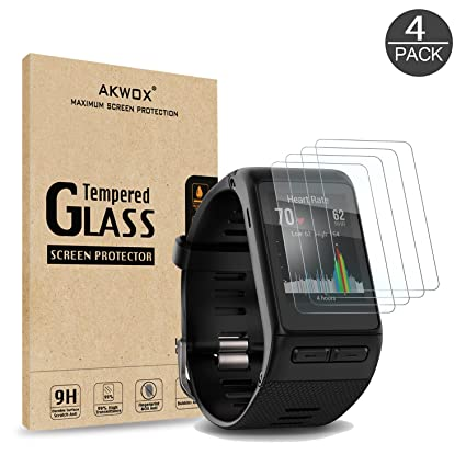 (Pack of 4) Tempered Glass Screen Protector for Garmin Vivoactive HR, Akwox [0.3mm 2.5D High Definition 9H] Premium Clear Screen Protective Film for ...