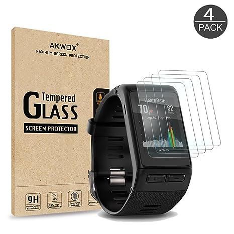 [Lot de 4] Verre Trempé Garmin Vivoactive HR, Akwox [0.3mm 2.5D haute définition 9H] ...