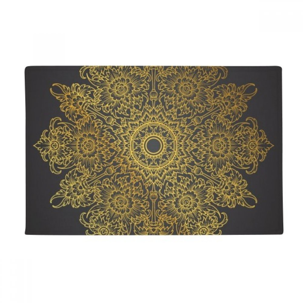 Thai Customs Culture Spread Gold Foil Anti-slip Floor Mat Carpet Bathroom Living Room Kitchen Door 16''x30''Gift by BeatChong