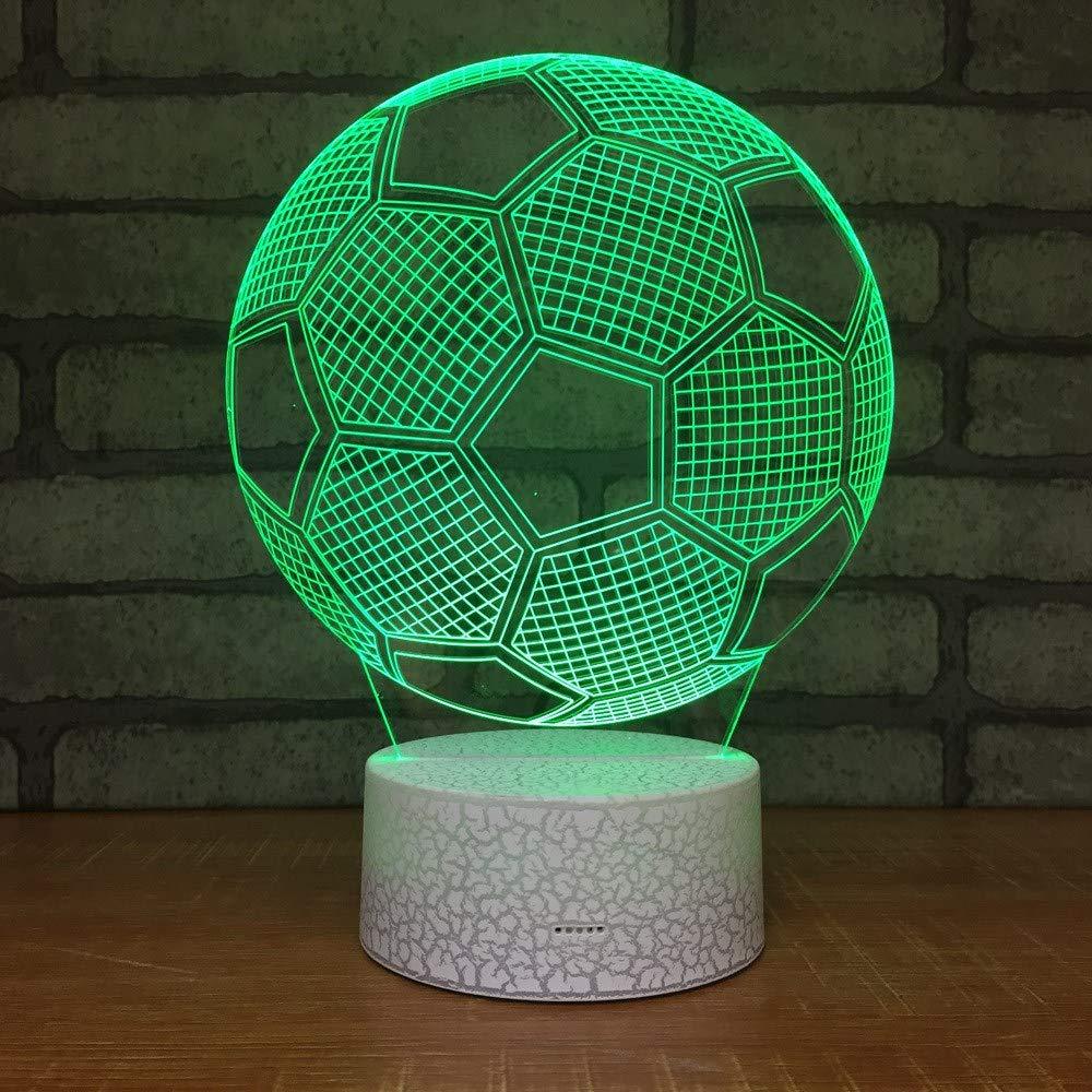 4 PACK, 3D optische Illusion Nachtlicht Fußball Fußball LED Tisch Schreibtischlampe 7 Farbe automatisch wechselnden USB-Ladegerät Powerotfor Baby Schlafzimmer Dekoration Kinder Geschenk