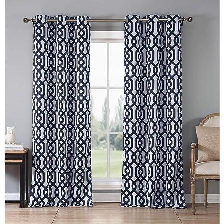 2 Piece 84 Inch Navy Blue White Diamond Curtains Panel Pair Set